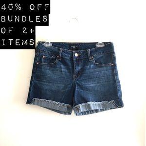 Stitched Hem Jean Shorts